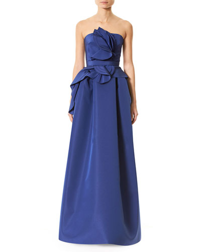 Strapless Silk Faille Ruffle-Front Gown, Blue