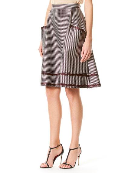 Striped A-Line Skirt, Violet