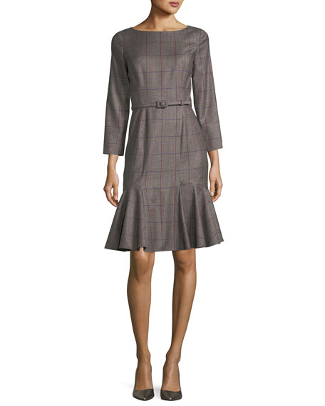 Fluted Plaid Bracelet-Sleeve Dress