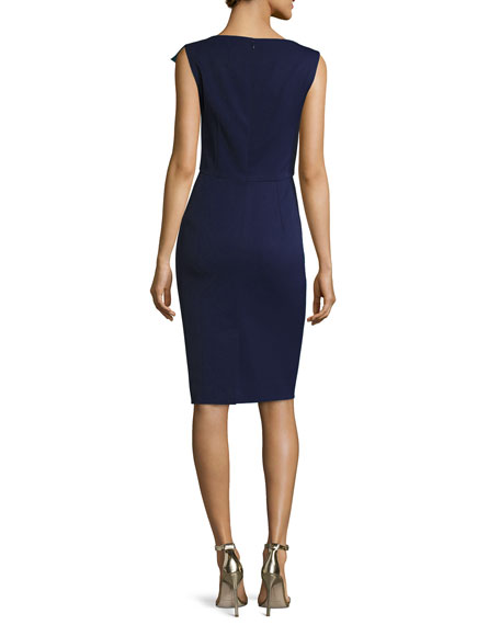 Side-Ruffle Sleeveless Cocktail Sheath Dress