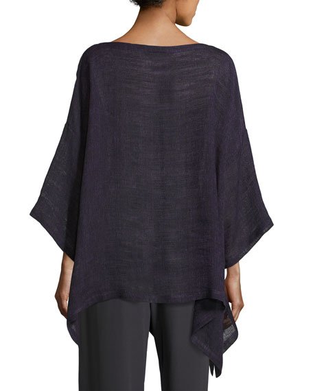 Linen-Blend 3/4-Sleeve Tunic, Purple
