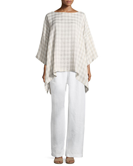 Drawstring Linen Trousers, White