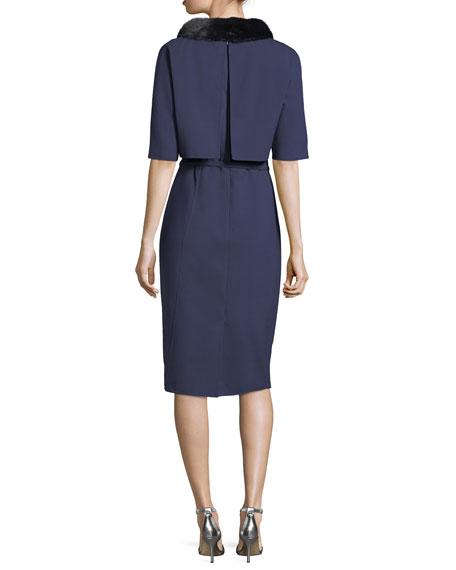 Fur-Collar Half-Sleeve Popover Dress