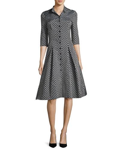 3/4-Sleeve Polka Dot Shirtdress, Black Pattern