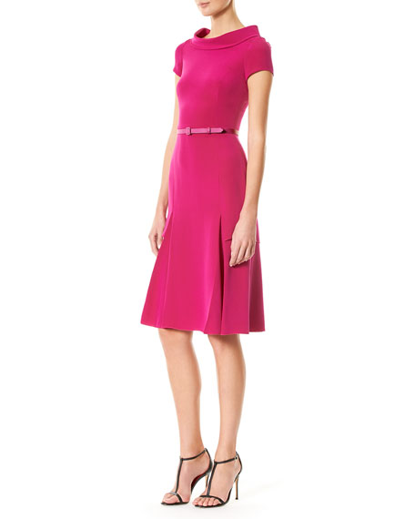 Cap-Sleeve Boat-Neck Dress, Magenta