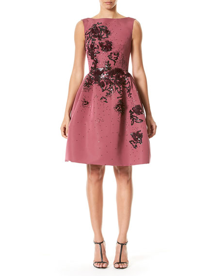 Sleeveless Floral-Embellished Party Dress, Wine