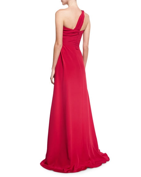One-Shoulder Pleated Silk Gown, Red