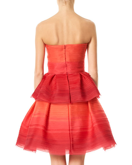Strapless Pleated Ombre Chiffon Cocktail Dress, Red Pattern