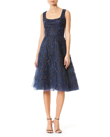 Floral-Embellished Sleeveless Scoop-Neck Cocktail Dress, Navy