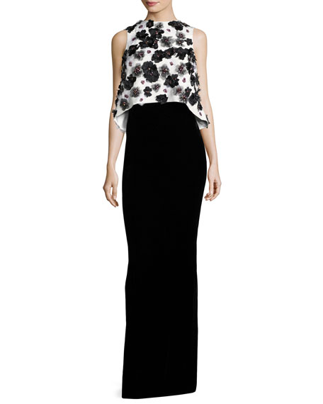Floral-Embellished Popover Column Gown, White/Black