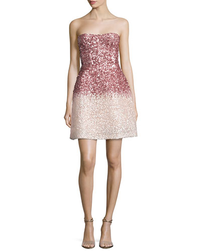 Strapless Ombre Sequined Cocktail Dress, Pink