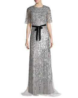 Short-Sleeve Sequined Capelet Gown, Silver