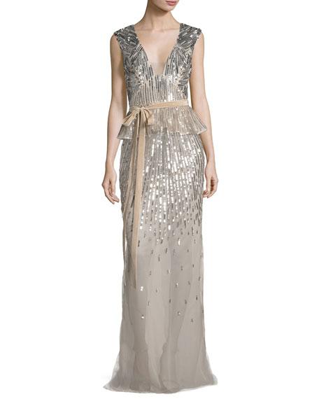 Sequined V-Neck Peplum Gown with Velvet Belt, Rose Gold