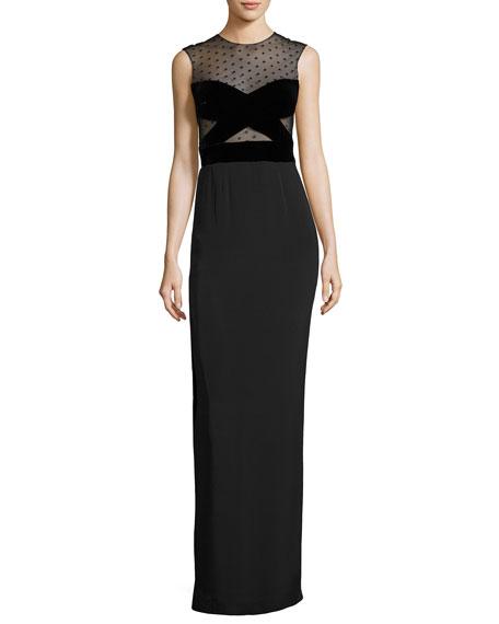 Sleeveless Swiss Dot Column Gown, Black