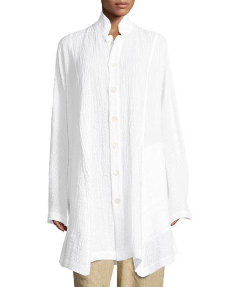 Gauzy Linen Button-Front Jacket
