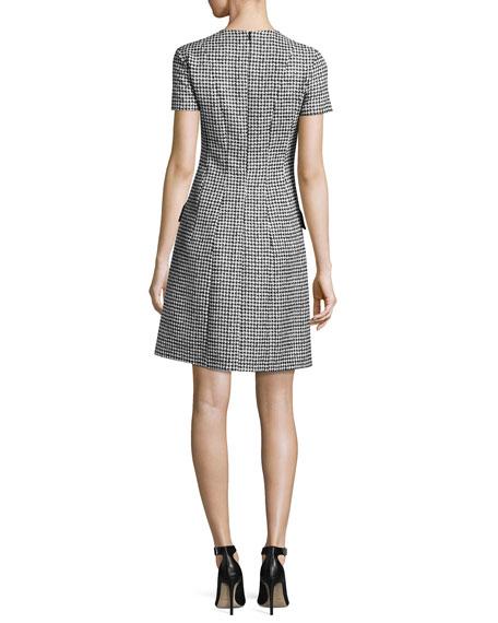 Short-Sleeve Houndstooth Jacquard Dress, Black/White