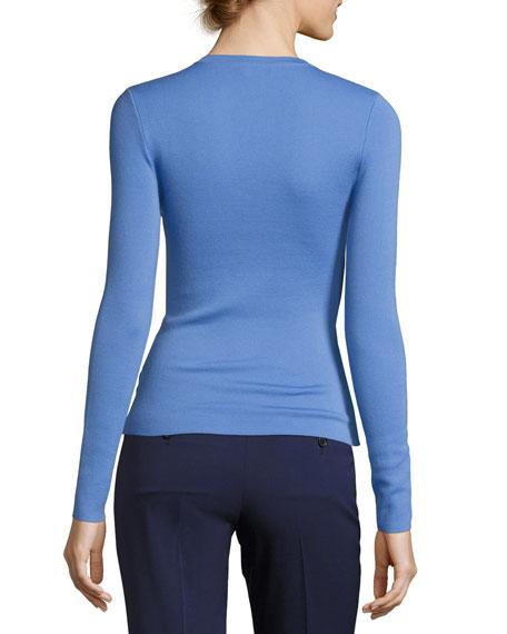 Knit Cashmere V-Neck Sweater, Blue