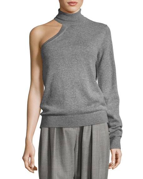 One-Sleeve Cashmere Turtleneck Sweater, Gray