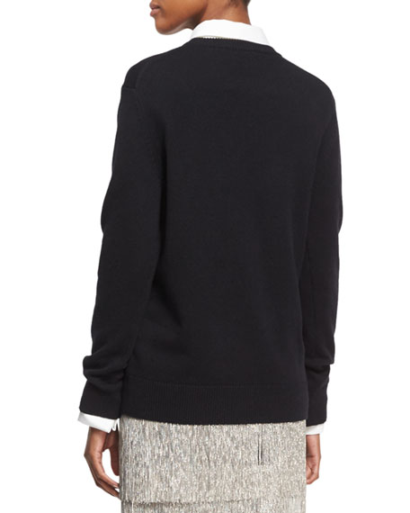 Zip-Detail Crewneck Sweater, Black