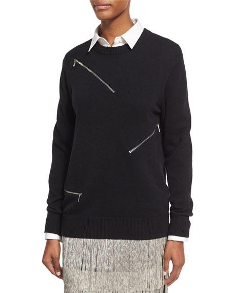 Zip-Detail Crewneck Sweater, Black