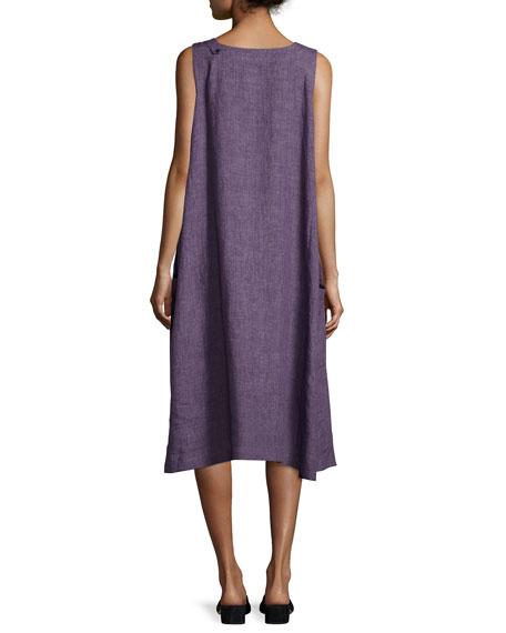 Pleated Sleeveless Linen Dress