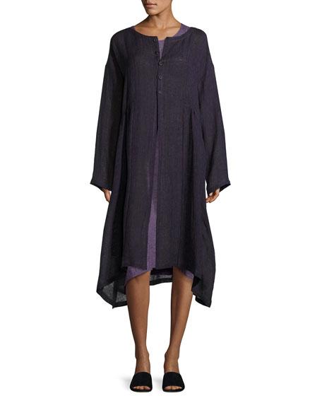 Round-Neck Linen Coat, Purple