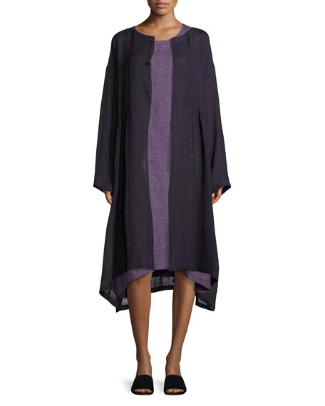 Round-Neck Linen Coat, Purple