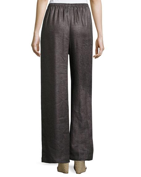 Linen Drawstring Wide-Leg Trousers