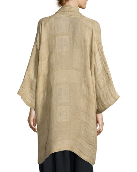 Patchwork Linen Gauze Jacket, Yellow Pattern