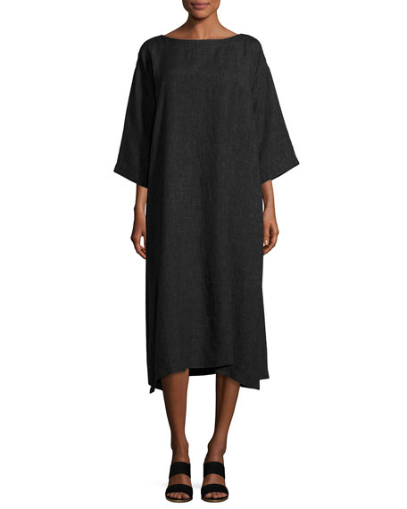 3/4-Sleeve Linen Tunic Dress, Black