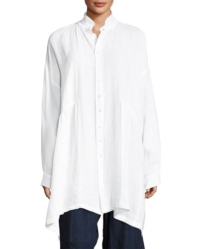 Oversized Linen Gathered-Waist Shirt
