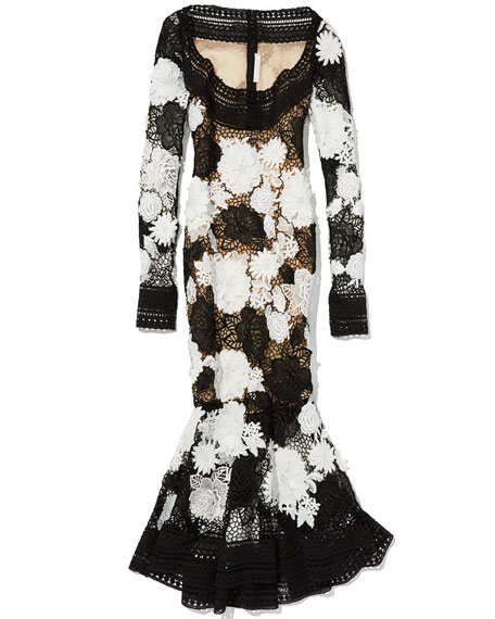 162778baaea Naeem Khan Two-Tone Floral Guipure Lace Flounce Dress