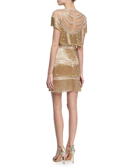 Short-Sleeve Fringe Cocktail Dress