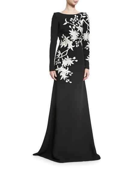 d9b2e260a8cb Naeem Khan Floral-Embroidered Long-Sleeve Gown
