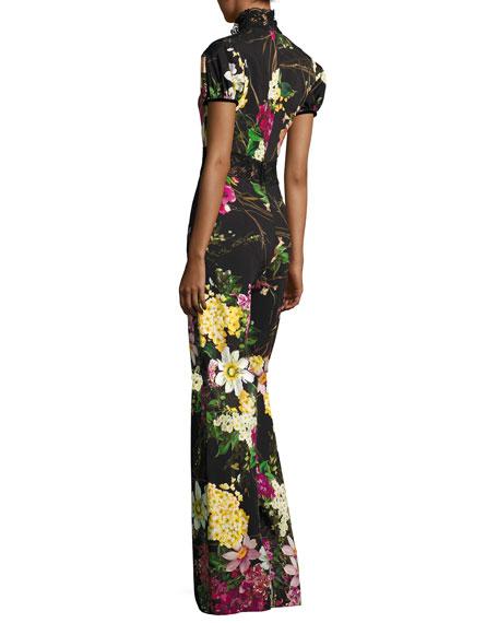 Short-Sleeve Mock-Neck Floral Jumpsuit, Black Pattern