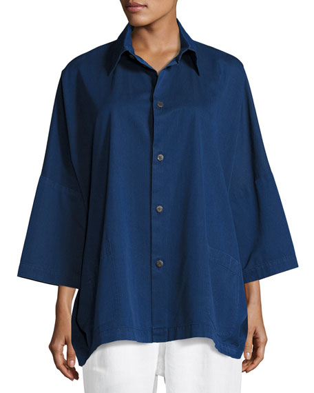 Slope-Shoulder Shirt Jacket, Indigo