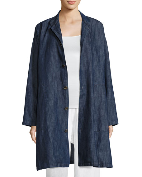 Long Cotton-Blend Jean Jacket, Blue
