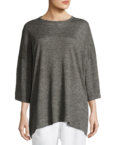 Half-Sleeve Knit Linen T-Shirt