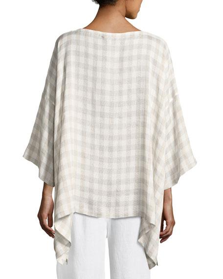 Bracelet-Sleeve Gingham Linen Tunic, Gray
