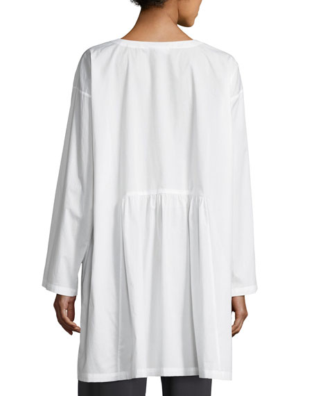 Round-Neck Long-Sleeve Cotton Tunic