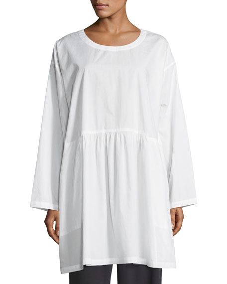 Round-Neck Long-Sleeve Cotton Tunic
