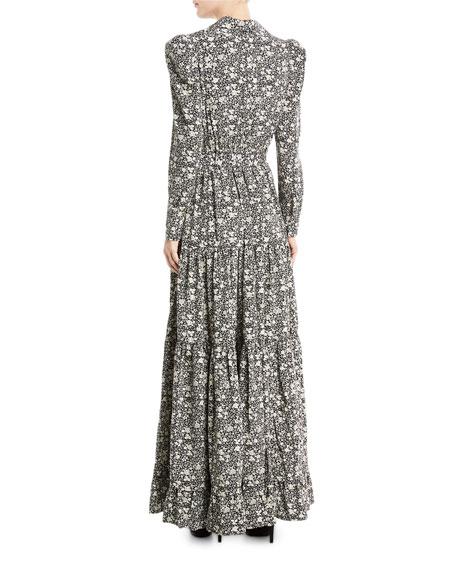 Floral Cr&#234pe de Chine Maxi Dress