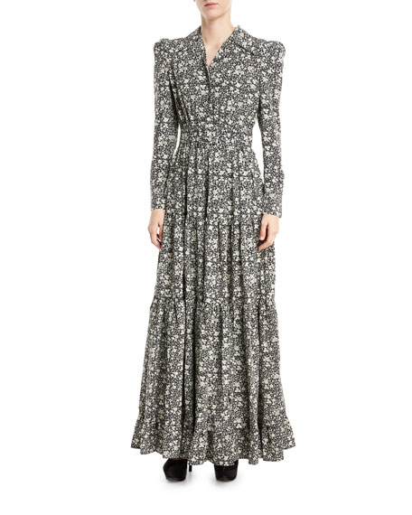 Floral Cr&#234pe de Chine Maxi Dress