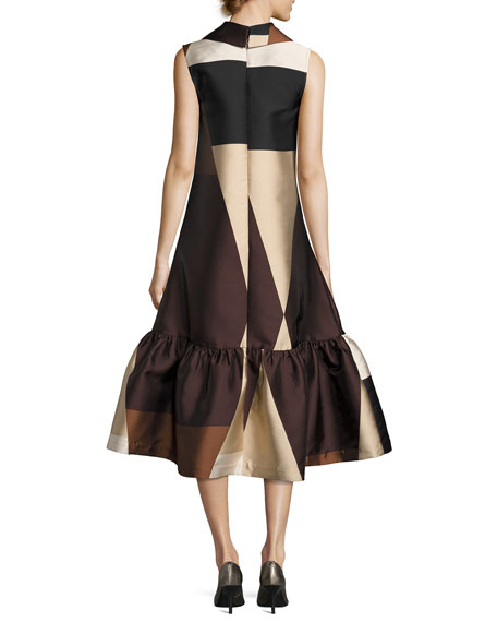 Colorblock Sleeveless Flounce Dress, Brown/Black/White