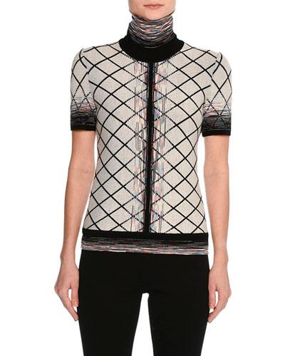 Short-Sleeve Check Jacquard Turtleneck Top, Beige/Black