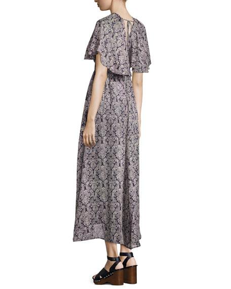 Baroque-Print Cold-Shoulder Maxi Dress, Navy