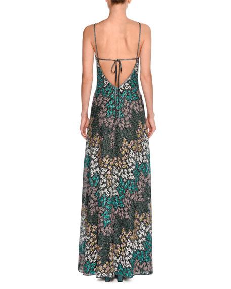 Lurex® Metallic Sleeveless Keyhole Gown, Green