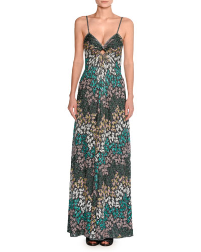 Lurex® Metallic Sleeveless Keyhole Gown, Green