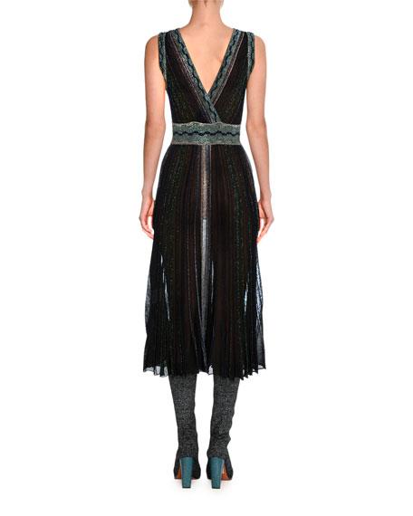 Sleeveless Lurex® Metallic Midi Dress, Black