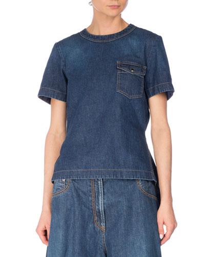 Short-Sleeve Denim Pleat-Back Top, Blue